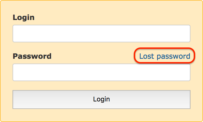 Lost password link