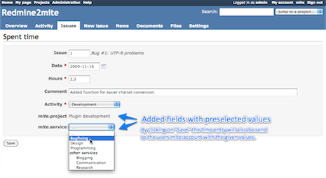 Redmine2mite plugin TN Screenshot2