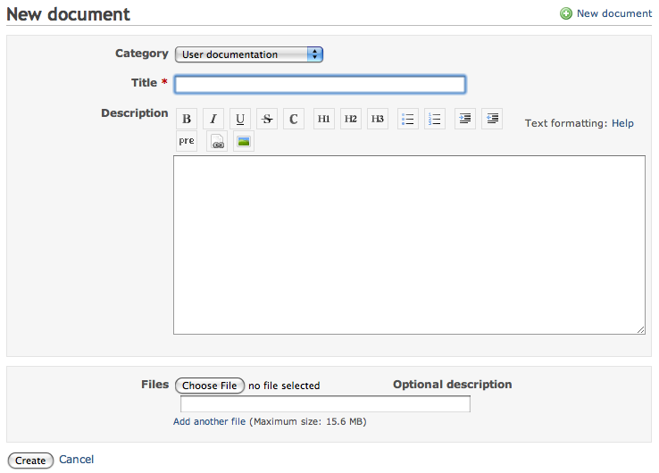 New document input form