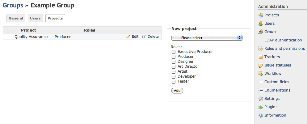 Screenshot of Redmine Groups to Projects